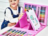 Большой набор для рисования «Чемодан творчества» 208 предметов (2 цвета: розовый и синий)