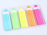 Набор самоклеящих этикеток-закладок (5*25) «Darvish» пластиковые ассорти в форме карандаша