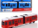 Поезд метро красный и синий