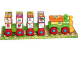 Детская развивающая игрушка каталка паровозик с кубиками